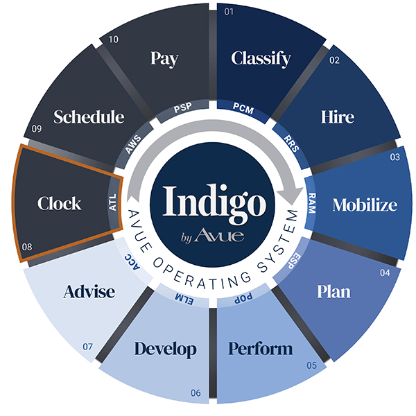 Indigo by Avue Clock Time and Leave Management